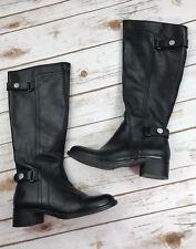 Franco Sarto Womens 5 M Crash Riding Boots Black Leather Tall Shoes Buckle