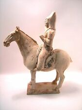 Chinese Tang dynasty (618–907 AD)  painted terracotta horse and rider 39 cm h.
