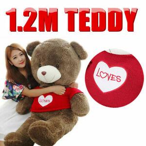 1.2M Heart Sweater Teddy Bear Giant Cuddly Stuffed Plush Animal Doll Gift ACB#