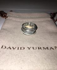 David Yurman Sterling Silver Diamond Crossover Ring Size 8