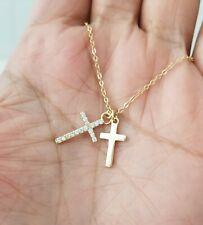 Women 14k Yellow Gold Finish Round Diamond Double Cross Charm Pendant Necklace