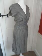 4acdb8dae2 New listingRUTZOU GREY SILK STRIPE ELEGANT DRESS SIZE UK 8 TIES AT THE BACK