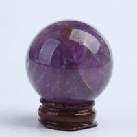 40mm Natural Quartz Amethyst Crystal Ball Healing Reiki Gemstone Sphere + Stand