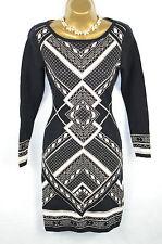 OASIS Black Geometric knitted metallic Jumper Dress UK Small