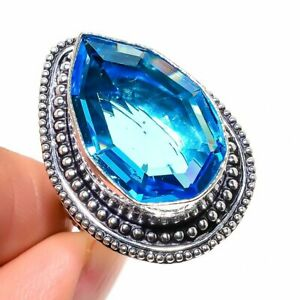 Swiss Blue Topaz Gemstone Handmade Ethnic 925 Sterling Silver Ring Size 8