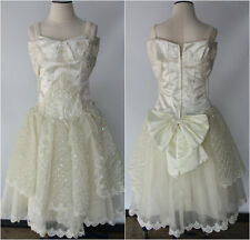 Vintage 80s 90s White Sequin Beaded Ball Gown Shoulder Wedding Party Prom Dress