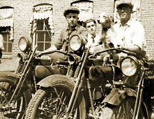 """1920 Two Men on Motorcycles, Durham, NC Vintage Old Photo 8.5"""" x 11"""" Reprint"""