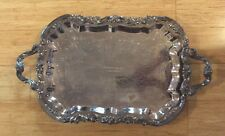 """Vintage Fb Rogers Co 25""""× 14 1/2"""" Footed Silver Plated Tray"""