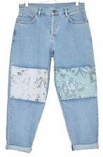 Topshop BOUTIQUE Boyfriend Blue FLORAL Panel Cut Out Crop Jeans Size 12 W30