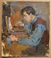 Russian Ukrainian Soviet Oil Painting realism portrait figure young artist boy