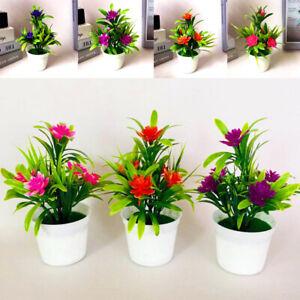Plastic Mini Bonsai Artificial Flowers with Pot Fake Lotus Plants Garden Decor
