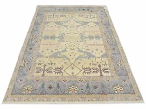 """12X15 Ivory Oushak Area Rug Hand-Knotted Wool Oriental Carpet (12' x 15'1"""")"""