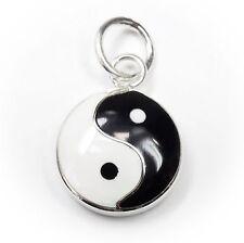 Neu 925 Silber ANHÄNGER Yin & Yang schwarz/weiß KETTENANHÄNGER Yīn Yáng