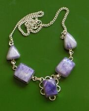 "18"" PURPLE HAZE AGATE SOLID STERLING SILVER NECKLACE, WE LOVE PURPLE AND WHITE"