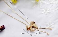 WOMEN GOLD LONG CHAIN BOWKNOT SWEATER PENDANT CHAIN JEWELRY ACCESORY NECKLACE