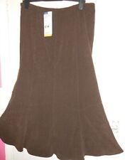 BNWT TCM Tchibo Dark Brown Calf Length Skirt 14 Faux Suede WESTERN