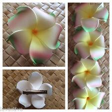 Hawaiian PLUMERIA FLOWER FOAM HAIR CLIP White Yellow Green