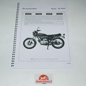 Honda Set Up Manual Book CB400F 400/4 400 Four 1970s, Reproduction. HWM007