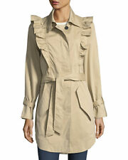 JOIE GILA BUTTON FRONT BELTED TRENCH COAT***********SIZE: MEDIUM