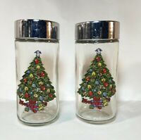 Vintage Holiday Kitchenware -  Retro Christmas Tree Tall Salt and Pepper Shakers