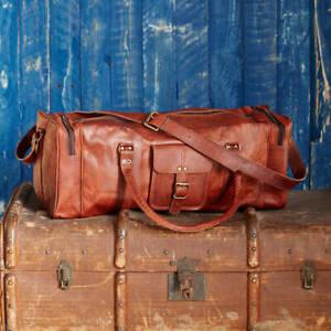 "24"" Men's Genuine Leather Vintage Duffle Travel Gym Weekend Overnight Bag"