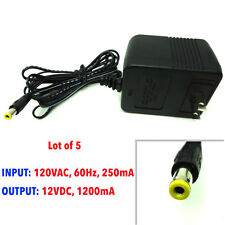 [Lot of 5] AC adapter 120VAC, 60Hz, 250mA, output 12VDC, 1200mA, 12 V 1.2A NEW