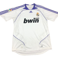 REAL MADRID HOME FOOTBALL SHIRT 2007/2008 SPAIN SOCCER JERSEY Size Large, Adidas