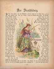 Frog King-Princess-Pond-German Fairy Tale-1895 ANTIQUE VINTAGE ART PRINT-Picture