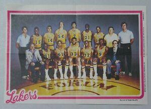 Los Angeles Lakers 1980-81 Topps Basketball Team Pin Up Insert Magic Johnson RC