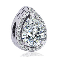 Genuine Clear CZ Radiant TEARDROP charm Sterling Silver S925 with Gift Bag