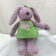 "Bunny Rabbit Purple Lavender Flower Apron Green Bow Hallmark Plush 10"" Toy Lovey"