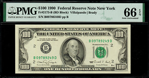 1990 $100 Federal Reserve Note - New York - FR. 2173-B - Graded PMG 66 EPQ