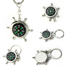 Portable Creative Alloy Silver Nautical Compass Helm Shape Keychain Ring Chain