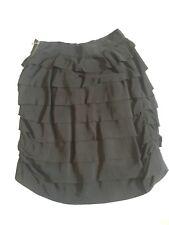 LANVIN PARIS Collection Signature Layered Ruffle Skirt - Black Weaved Wool Sz S