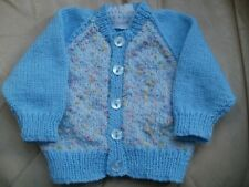 "Hand Knitted Blue Baby Boy's Cardigan 16"" chest Age 0-3 months"