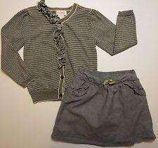 Genuine Kids Girls Size 4T Striped Cardigan Ruffle Sweater Skirt Outfit