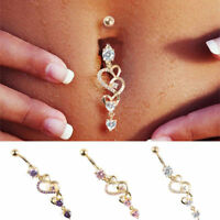Rhinestone Body Piercing Dangle Crystal Navel Belly Button Bar Barbell Rings New