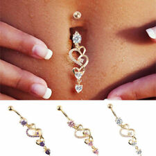 Belly Bar Navel Button Ring Crystal Gem Dangly Gem Surgical Steel Body Jewellery