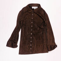 Sara Campbell Gold Bronze Metallic Collared Button Down Long Sleeve Blouse Shirt