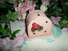 Shabby Vintage Pink Metal Retractable Laundry Clothes Line Reel Farmhouse