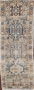 Antique Gharajeh Geometric Tribal Runner Rug Evenly Low Pile Hand-knotted 2'x5'
