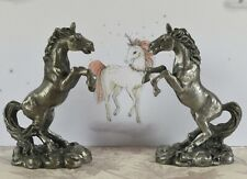Pair of Lovely Pewter Veronese Small Rearing Unicorns