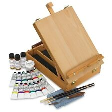 Gamblin Deluxe Painting System Artist Oil Painting Set 12 colors Wooden Easel