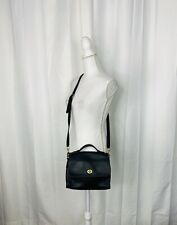 Vintage 1990s Coach Court #9870 Black Leather Top Handle Bag - Detachable Strap