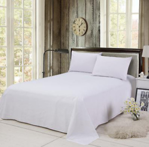 Drap lit plat 2 personnes grand 230x250 Neuf sous blister Blanc polyester/coton