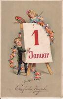 uralte AK, Ein frohes Neujahr Kinder mit Kalender und Blumengirlande 1912?
