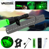 Tactical Green LED Hunting Predator Varmint Flashlight Picatinny Gun/Rifle Mount