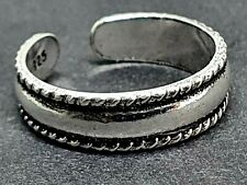 Toe Ring 925 Sterling Silver Banded Rope Adjustable Saxon Style Braided Boho