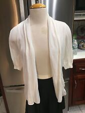GUESS DRAPE FRONT CARDIGAN WHITE SZ S SHRUG SWEATER SHORT SLEEVE POCKETS