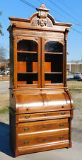 Walnut Victorian Cylinder Roll Secretary Bookcase Top